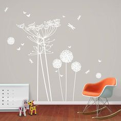 Love this as an alternative to the other dandelion sticker but the wall I'm putting it on is white although could paint it this colour...classier design I think and I like cow parsley too but triple the price