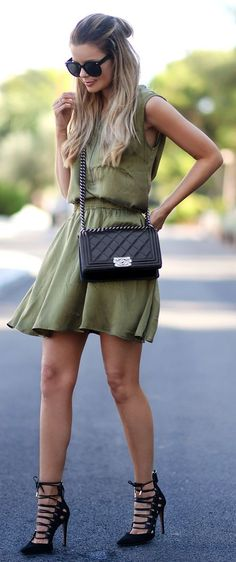 Army Green Silk Little Dress by Annette Haga