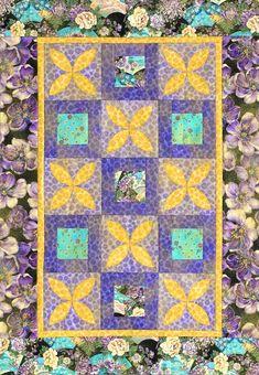 Showcase appliquéd golden petals on regal purple foundations in a wall hanging quilt.