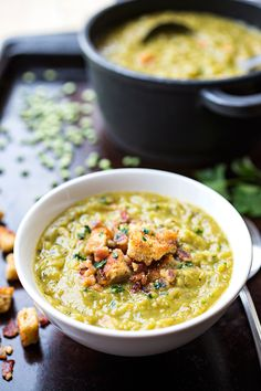 Hearty Split Pea & Smoky Bacon Soup with Rustic Garlic-Butter Croutons : thecozyapron Olives, Soup Recipes, Cooking Recipes, Bacon Soup, Pea Soup, Orzo Soup, Soup Broth, Smoked Bacon, Soup And Salad