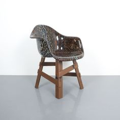 Eames Appropriation Dining Armchair with Polished Resin Leopard Seat