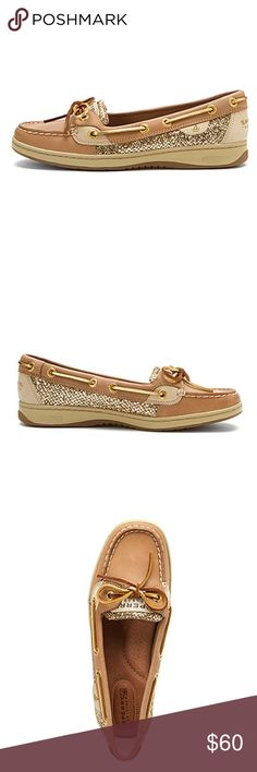 Sperry Angelfish gold glitter WOMEN'S SPERRY TOP-SIDER ANGELFISH LINEN/GOLD GLITTER, like new without box, wore once but did not fit. I need a larger size. Open to trades for a size 6, thanks! I can put actual pic up if you are interested, let me know! Sperry Top-Sider Shoes Flats & Loafers