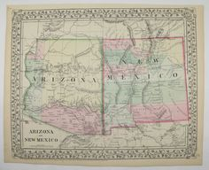 Antique Arizona Map New Mexico Map Vintage Original Old 1871 Mitchell AZ NM State Anniversary Wedding Southwestern Travel Gifts for Home by OldMapsandPrints