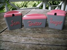 Vintage 50's Gay Ware , Breakfast Set Jam, Butter & Sugar