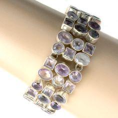 Beautiful Vintage Amethyst Sterling Silver Wide Bracelet