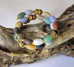 Matte Finish Web Agate Wrap Bracelet