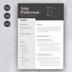 Resume Amy 2 pages by sz81 on @creativemarket