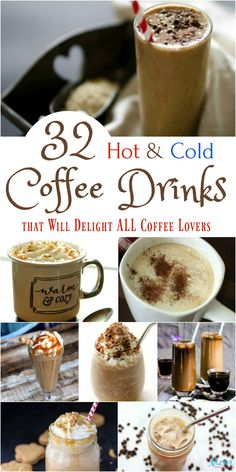 32 Hot & Cold Coffee Drinks that Will Delight ALL Coffee Lovers You don't have to visit a coffee house for delectable coffee! You can make delicious Hot & Cold Coffee Drinks at home in a few easy steps. Cold Coffee Drinks, Espresso Drinks, Hot Coffee, Iced Coffee, Smoothies Coffee, Coffee Cake, Coffee Logo, Alcoholic Coffee Drinks, Frozen Coffee Drinks