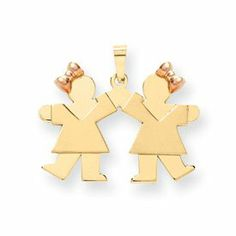 14k Two-Tone Small Double Girls Engraveable Charm - JewelryWeb JewelryWeb. $444.70. Save 50%!