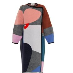 ISSA Clemence oversized patchwork coat ($2,115) ❤ liked on Polyvore featuring outerwear, coats, jackets, pink, color block coat, colorblock coat, issa, oversized coat and pink oversized coat