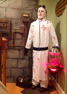 Forum member: The Halloween Lady Asylum: fuse box wall and doctor.