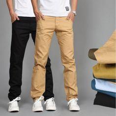 RUBU New Design Casual Men pants Cotton Slim Pant Straight Trousers Fashion Business Solid Khaki Black Pants Men Black Pants, Khaki Pants, Men Pants, White Pants, Striped Pants, Casual Pants, Men Casual, Casual Shirt, Fashion Business