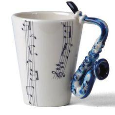Ceramic Mug - Saxophone Handle - Gifts Cool Coffee Cups, Cute Coffee Mugs, I Love Coffee, Cute Mugs, Coffee Coffee, Black Coffee, Funny Mugs, Instrumental, Band Nerd