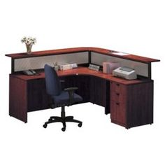 Cherry L Shaped Receptionist Desk With Left Return, 7171L-CH $1166.00