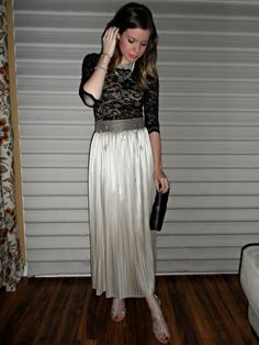 Black Lace Top with Gold pleated maxi skirt and sparkly accessories for a Christmas or Holiday party look.