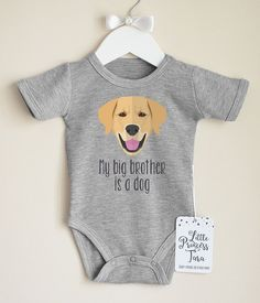 Cute Golden Retriever Baby Bodysuit. Dog Baby Clothes. Dog Baby Announcement. My Big Brother Is a Dog. Add Your Own Text. Cute Baby Clothes