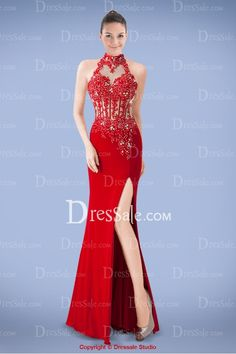 Stunning High Collar Sheath Evening Dress with Beautiful Beaded Appliques and Open Back 1.20.15  $168.99(50% Off)5days18:13:22 USD $337.98 Save: $168.99