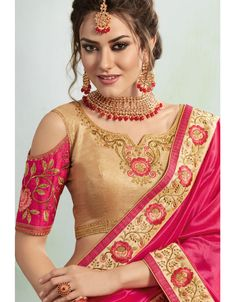 Magenta and Creamy Pink Color Vichitra Silk Georgette Treditional Wear Saree - 408649366 Indian Attire, Indian Wear, Fashion Pants, Girl Fashion, Style Fashion, Bollywood Suits, Bollywood Actress, Golden Blouse, Fancy Blouse Designs