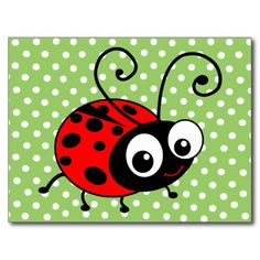Shop Cute Ladybug Card created by inspirationzstore. Painted Clay Pots, Painted Rocks, Kids Bulletin Boards, Bee Coloring Pages, Ladybug Art, Mothers Day Crafts For Kids, Simple Cartoon, Garage Art, Rock Decor