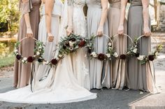 Mix-and-match neutral colored bridesmaids dresses - bridesmaid dress ideas Rebecca Renner Photography Bridesmaid Flowers, Bridesmaid Dresses, Wedding Dresses, Cascading Bridal Bouquets, Diy Wedding Bouquet, Fall Dresses, Wedding Themes, Wedding Colors, Wedding Ideas