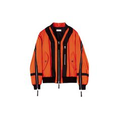 VOGUE ❤ liked on Polyvore featuring outerwear, jackets, coats, coats & jackets, tops and orange jacket
