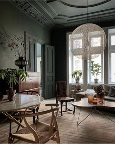 House Inspiration, Living Room Interior, Dark Walls, Matching Chairs, Home, Green Dining Room Walls, Interior Design Jobs, Dining Room Walls, Living Room Inspo