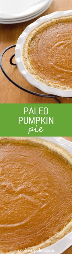 This paleo pumpkin pie is a quick and easy gluten-free pumpkin pie recipe for fall or Thanksgiving. ~ http://cookeatpaleo.com
