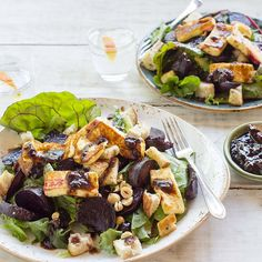 Beetroot And Toasted Hazelnut Salad With Haloumi And Plum Dressing
