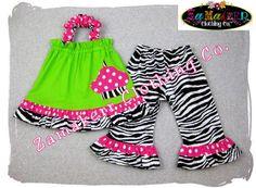 Zebra N Dots - Custom Boutique Clothing Zebra Dots Pillowcase Tunic Dress Top Ruffle Pant Outfit