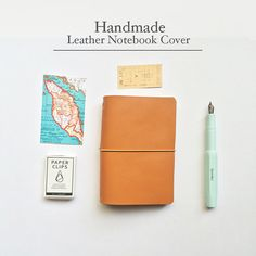 Our lovely high quality journal is 100% handmade by us. This gorgeous and functional leather cover will carry your notebooks with your trip and write down every single things that come up to you mind. :)  ----------------------------------------------------------------------  ♠ Details ♠ Color :: Ocher Brown Material :: Leather Size :: Passport 5.3 x 4.2 / 13.5cm x 10.5 cm (fits 1-3 inserts)  ♠ Listing ♠ - Leather cover with double elastic setting x 1 - Paper refills x 2  ♠ Custom Made L...