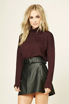 Forever 21 Contemporary - A marled knit turtleneck top featuring long sleeves and a boxy silhouette.