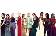 Kaltain, ..., ..., Manon, Elide, Aelin, Lysandra, Nehemia, Nesryn, ... I'm not sure who all of them are. I'm guessing one of them  has got to be Sorscha. I think the one all the way to the right might be her. Not sure...