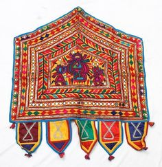 *** VINTAGE RABARI FINE HAND EMBROIDERY MIRROR OLD ETHNIC TRIBAL TASSEL PATCHES - $20.03 - June 19, 2016 - Mine!