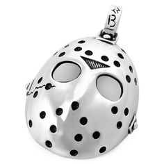 Men's Silver Black Halloween Jason Mask Gothic Stainless Steel Pendant Necklace