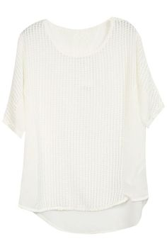 Hollow White Check Blouse. Description White blouse, featuring a round neckline, short sleeves, check design on body, hollow styling, asymmetric hem, solid color. Fabric Chiffon. Washing Cool hand wash with similar colours, do not tumble dry. #Romwe