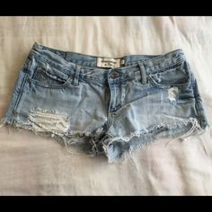 Abercrombie & Fitch shorts. Abercrombie & Fitch light wash destroyed denim jean shorts.  ✧NO trades! ✧NO PayPal! ✧NO lowball offers! ✧I do NOT sell on any other apps! ✧Item is great for bundles! ✧Ships same or next day. ❤️ Abercrombie & Fitch Jeans