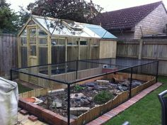 Tortoise Outdoor Enclosure Information - has info + materials used to build exterior enclosure for Marginated Tortoise (ex. of helpful info:  that is fruit cage framework + there is wire/plastic below the soil) @Reptile Forums