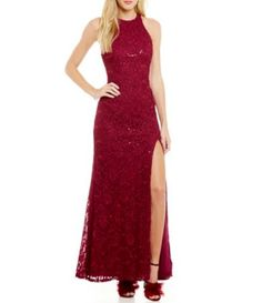 Blondie Nites Jeweled Mock Neck Racerback Long Dress #Dillards ...
