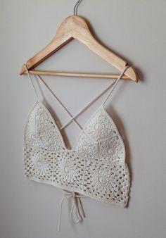 Crochet Bralette/ Crop Top/ Bikini. Size XS/ by VelvetRainbows