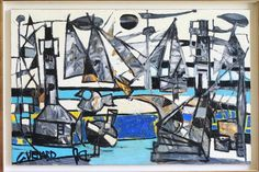 """Adjugé 6 500 euros par Gestas-Carrère à Pau le 25 juillet 2015 : Venard Claude (1913-1999).""""Composition"""". Huile sur toile. 65 x 100 cm."""