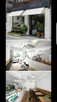 Home Decoration For Living Room Bakery Interior, Restaurant Interior Design, Shop Interior Design, Cafe Exterior, Exterior Design, Café Design, House Design, Design Shop, Bakery Shop Design