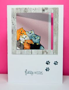 Art Impressions Rubber Stamps: Ai Fronts and Backs: Happy Purr-thday stamp set and coordinating die.