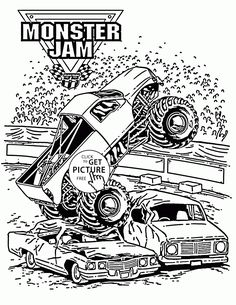 Smashing Monster Truck Jam Coloring Page For Kids Transportation Pages Printables Free