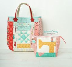 Pattern for adorable handmade patchwork star handle bag and zip pouch with Sewing Machine Quilting Tutorials, Quilting Designs, Sewing Patterns Free, Quilt Patterns, Pouch Pattern, Sewing Art, Patchwork Bags, Riley Blake, Zipper Pouch