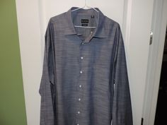 Rochester Solid Blue Big and Tall Non-Iron Casual Shirt SZ 3XLT Mint Must See #Rochester #ButtonFront