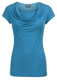 Cowl neck top in short sleeves, soon to be available in purple and black for fall.