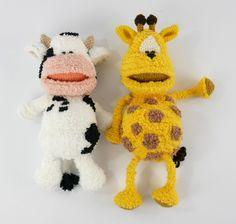 Koe en Giraffe schatje haken, door de bek kan je kind zijn schat in het lijf van de knuffel bewaren. Haakpret