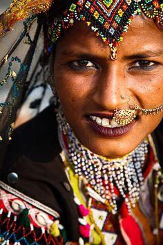Woman in Traditional Dress at the Pushkar Camel Fair, Pushkar, Rajasthan, India