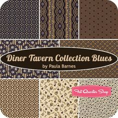 Diner Tavern Collection Blues Fat Quarter Bundle Paula Barnes for Marcus Brothers Fabrics
