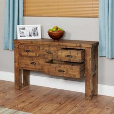 Heyford Rough Sawn Oak Console Table -  - TV Cabinet - baumhaus - Space & Shape - 3
